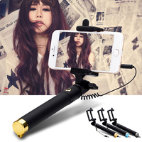 2016 Wholesale Universal Portable Cable Monopod Selfie Stick For Iphone,Mini Selfie Stick With Shutter Button For Smartphone