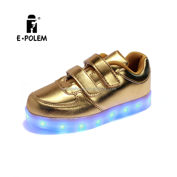 2016 new Light emitting LED metal PU kids sports led shoes for kids