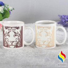 11oz Magic Custom Cup Heat Sensitive Color Changing Ceramic Mugs With Tiger Design