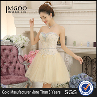 MGOO 2015 Traditional Style Women Sequin Champagne Free Prom Dress Strapless Ball Gown Voile Party Evneing Dress A267
