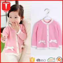 Korea style new designs baby girl sweater with bowknot