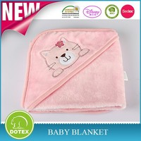 100% cotton embroidered hooded blanket for children cotton baby blanket