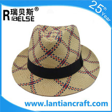 cheap promotional hat paper straw fedora hat men