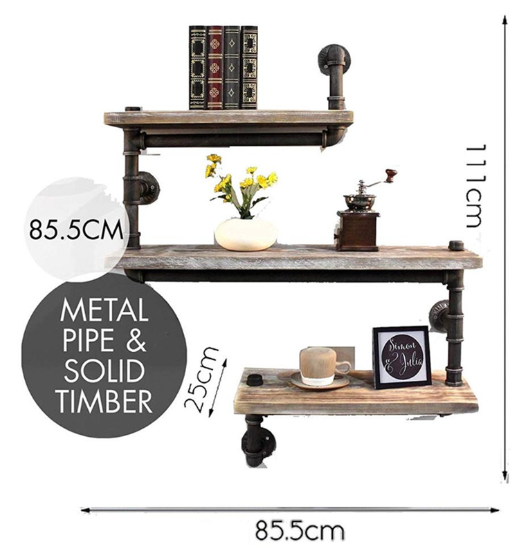 Rustic Wooden Floating Wall Shelf for Kitchen Bathroom Storage
