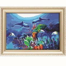 2016 Dolphins design menglei oil painting by numbers wholesale