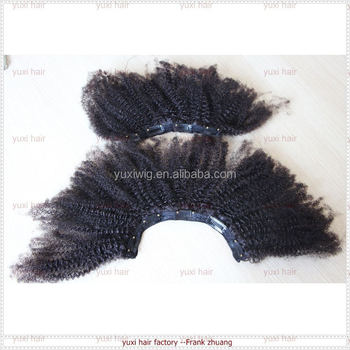 2017 hot selling high quality afro kinky curly clip in hair extensions for black women