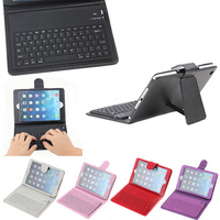 Bluetooth keyboard leather tablet case for iPad Mini 1 2 3 with stand holder