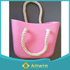 Fashion and trendy Silicone beach bag with cotton rope handle