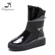 2017 Women New Style Black Patent Leather Wool Fur Collar Cuff Winter Snow Boots
