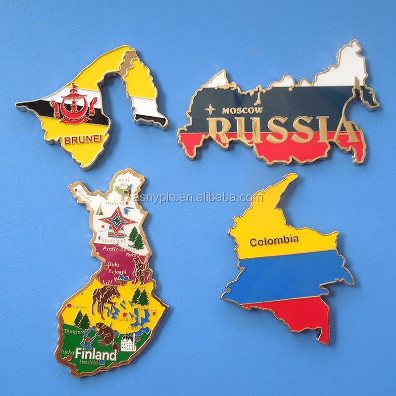 Hot sale various tourist gift fridge magnet map shaped souvenir metal fridge magnet