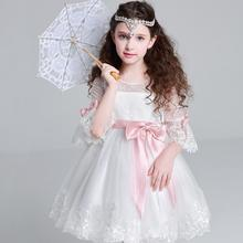 Girl Name Branded Dress Stocklot 3/4 Sleeve White Lace Embroiderey Design Clothing Kids Brand Dress