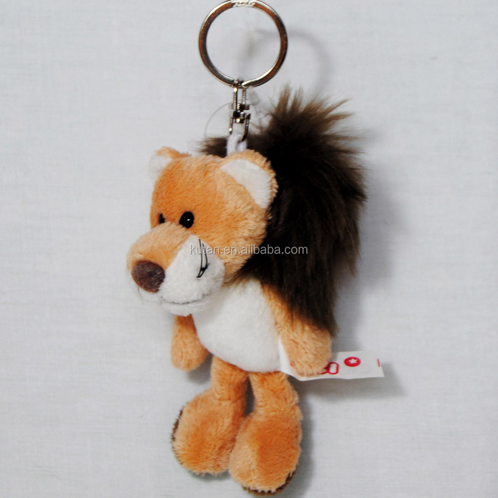 LOW MOQ cheap mini stuffed animal toy soft plush lion keychain wholesale