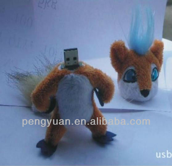Cute toy usb drive cyber fox shaped , best Christmas gifts (PY-U-278)