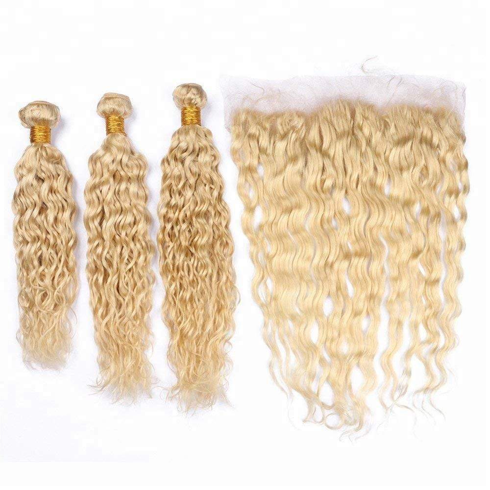 Wholesale virgin brazilian cuticle aligned human hair wet and wavy <strong>weave</strong> 18inch 613 blonde bundles with frontal