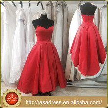 AR-005 New Style Red Special Occasion Party Gowns Stain High-Low Strapless Real Photo Prom Dress