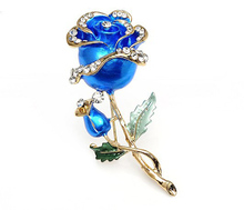High Quality Decorative Garment Dress Red Enamel Inlay Crystal Double Roses Flower Wedding Brooches