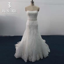Amazing Strapless Beaded Waistband Queen Anne Heavy Lace Wedding Gown