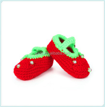 Newborn Infant Baby Summer Knitted Button Shoes Handmade Crochet Woolen Soft Soles Sandals