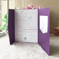 250gsm pearl paper with shiny blessing card RSVP card with envelop design Qj-33