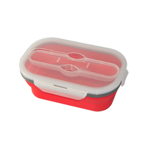 Popular 600ML+300ML Collapsible Silicone Double Case Lunch Box