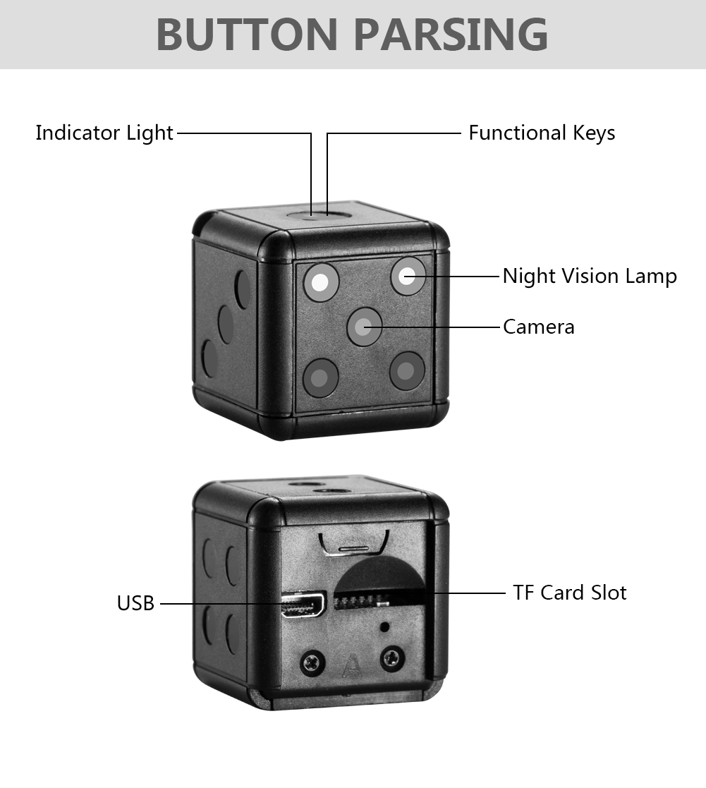 SQ16 HD 1080p portable night vision video camera mini ir hidden secretary dice camera