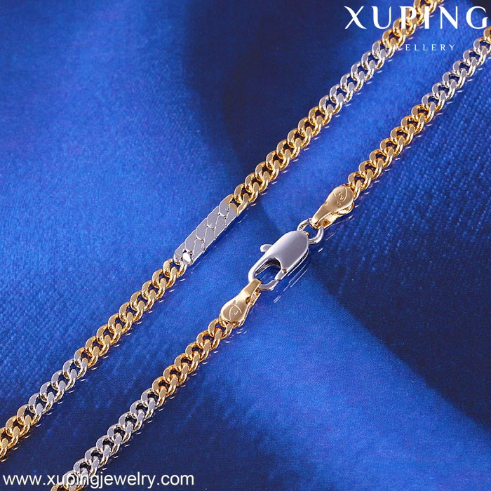 "41460 Xuping 3mm 18"" two tone Curb Link custom jewelry gold necklaces chain for women,jewelry fashion necklaces,hip hop jewelry"