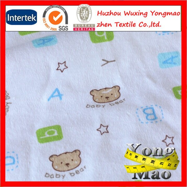 Huzhou wholesale 40s combed baby print cotton interlock for Wholesale baby fabric
