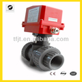 "AC220V 2"" UPVC double union electric motor control valve with manual override and position indicator"