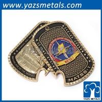 Custom metal gold silver dual plating coin tag