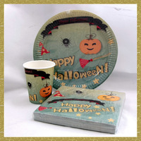 Halloween napkin pumpkin design paper napkin/cup/plate party set