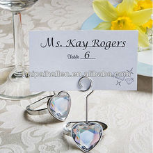 Heart shaped engagement crystal ring place card for wedding