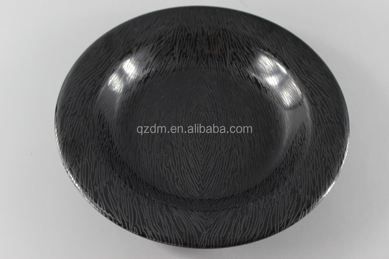 Black Plastic dinner plate Embossment deep dishes
