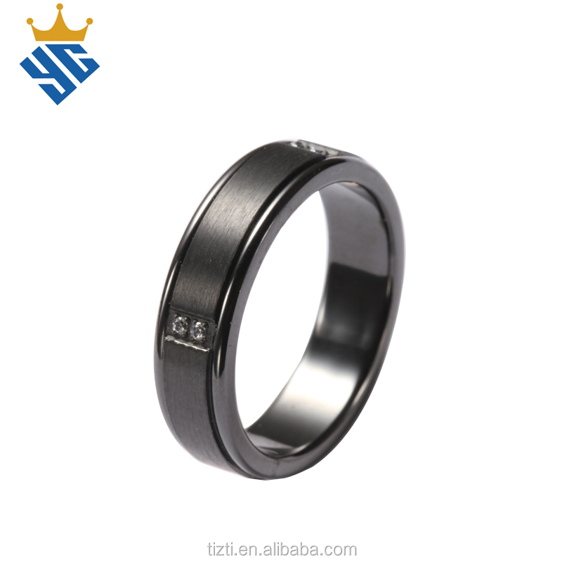 Cubic zirconia setting brushed finish magnetic black titanium men's finger ring BR1071