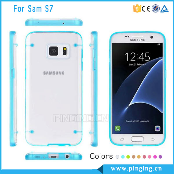 Fashion four dots luminous transparent ultrathin mobile phone case for Samsung Galaxy S7 , back cover case for Samsung Galaxy S7