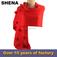 2015 new style acrylic red fashion plain lady winter knitting scarf for sale
