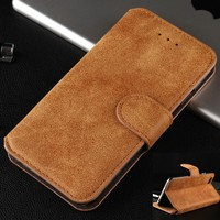 For iphone 6 Brown Color PU Leather Frosted Retro Stand Wallet Case