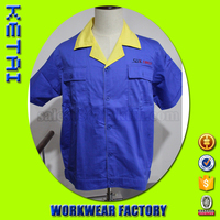 Factory directly customizable blue cotton short sleeve work shirts