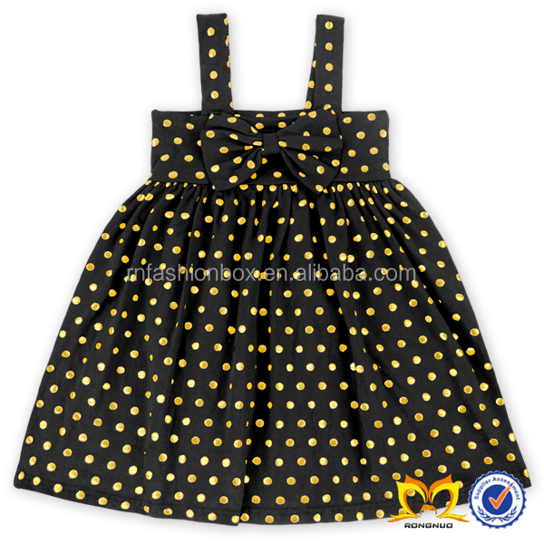 Black Bow Polka Dots Baby Fashion Kids Summer Baby Girls Party Wear Dress Toddler Dresses