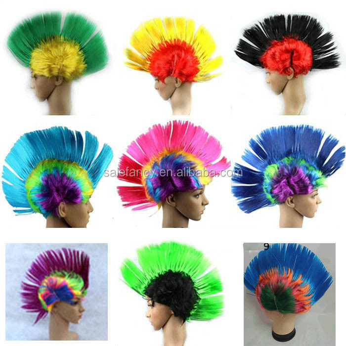 Multi Colour Punk Mohican Rocker Wigs Mohawk Wig for Fancy Party Dress Costume Halloween Synthetic Hair QPWG-2062