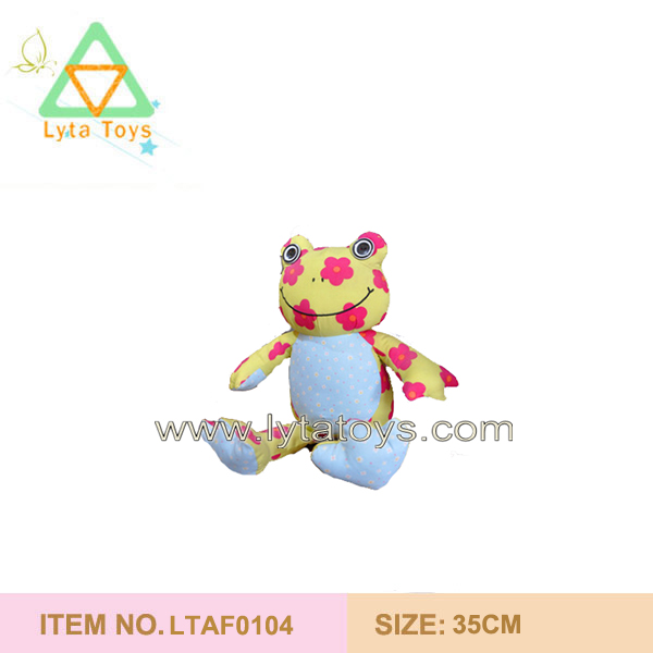 Lovely Plush Baby Frog Printing Flower Toys