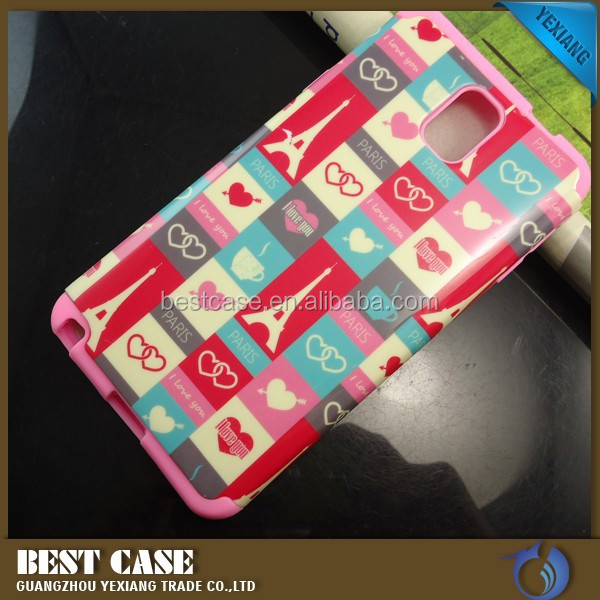 Manufacture hybrid pc silicone case for samsung galaxy note 3 2 in 1 cover