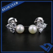 Factory Price Fashion Pearl Zircon Silver Stud Earing