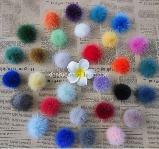 wholesale 3-5cm white and dyeing mink fur pom for gloves/shoes/phone case