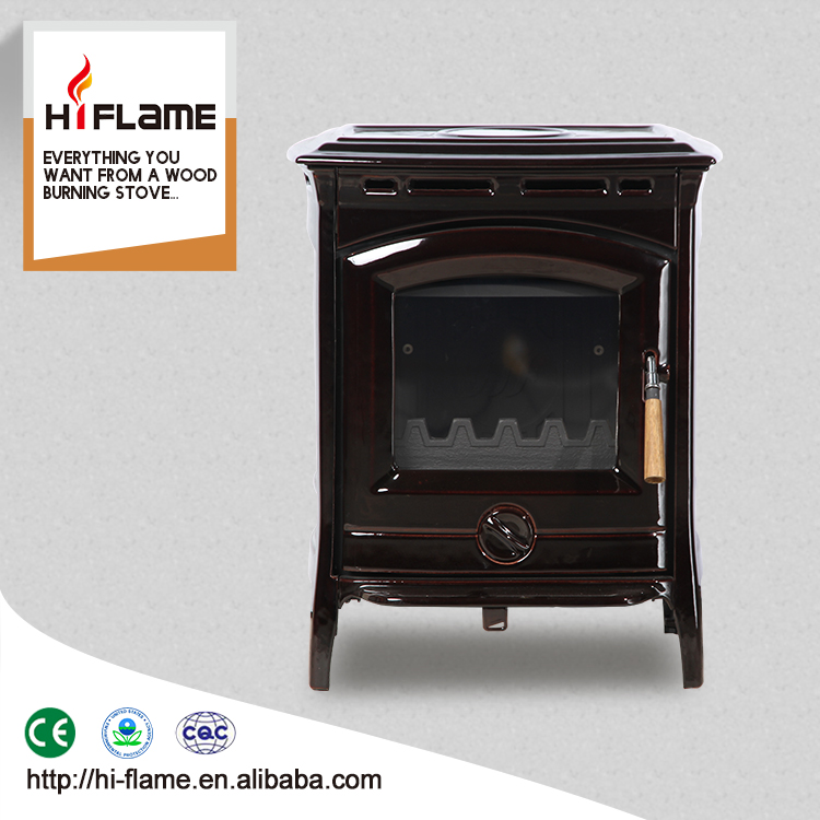Excellent supplier HiFlame steel freestanding enamel real fire wood burning stove designed for 800sq.ft room HF905UCE