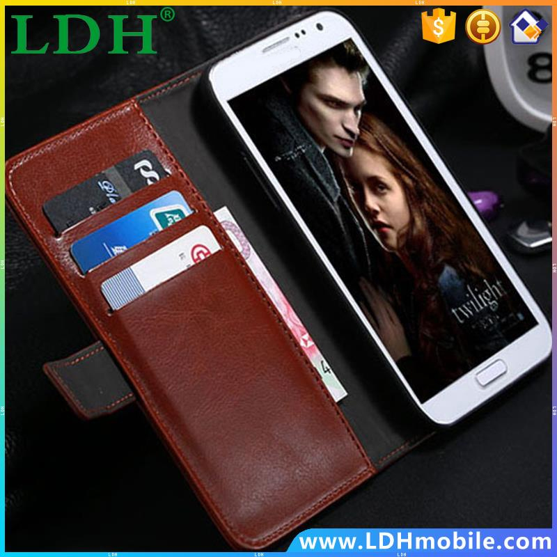 Fashion Stylish Crazy Horse Leather Flip Case For Samsung Galaxy Note2 N7100 Wallet String Stand Cover For Galaxy Note 2 Bag