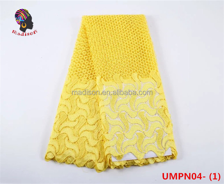 Gzmadison 2016 New designs yellow african lace print fabrics guipure sequence cord lace /UWPN04-1