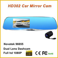 2016 dash car camera g-sensor car rearview mirror camera dvr with full hd 1080p ambarella A7 mirror 2 channel dvr dashcam