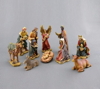 Antik polyresin natal Nativity10-Piece patung set, resin hari Natal adegan patung-patung