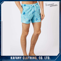 Men's Casual Short Pants Blue Palm Print Mens Swim Shorts