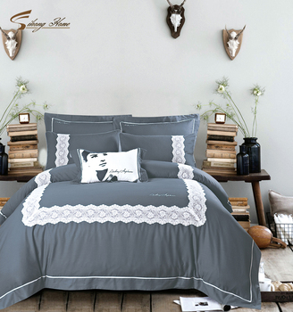 Audrey Hepburn Cotton And Linen Embroidered,beautiful Lace Bed Sheets  Bedding Sets
